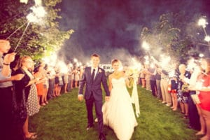 sparklers as wedding send off