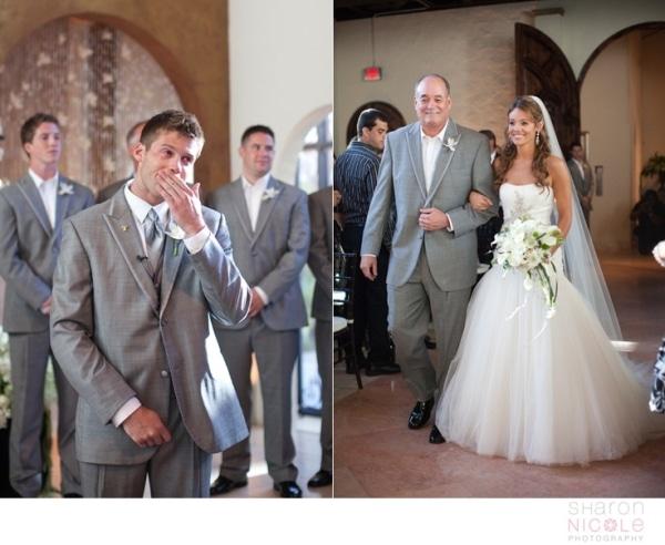 Groom's Reaction to Bride Walking Down Aisle
