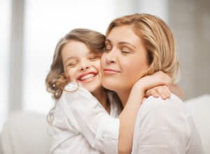 parent and child hugging