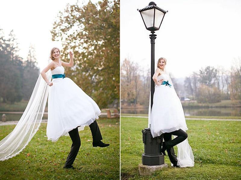 funny bride and groom wedding photos