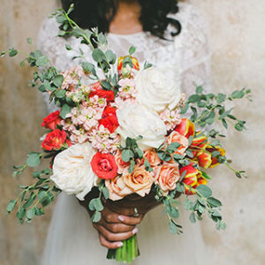 flower bouquet in wedding color palette