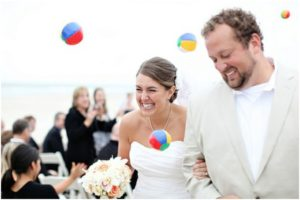 beach ball wedding sendoff