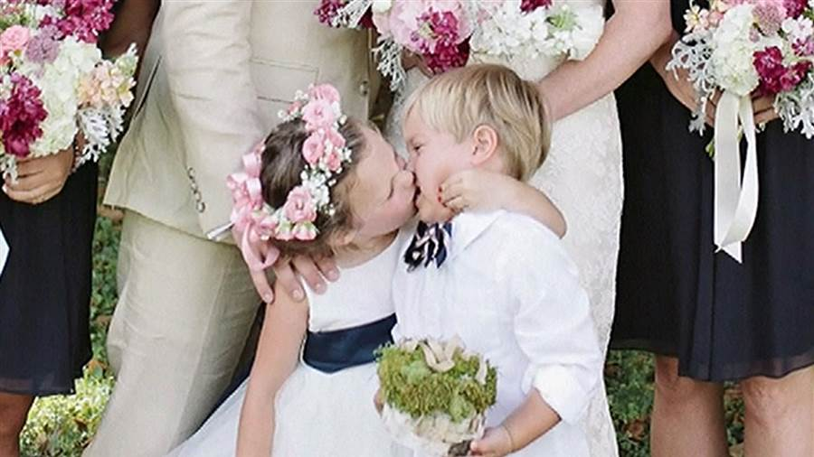 ring bearer and flower girl wedding photo