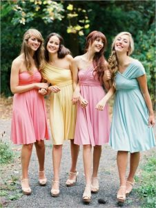 bridesmaids wearing color palette
