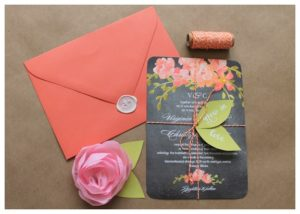DIY wedding invitations with embellishments