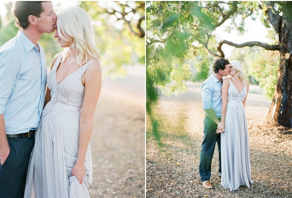 Engagement poses kissing