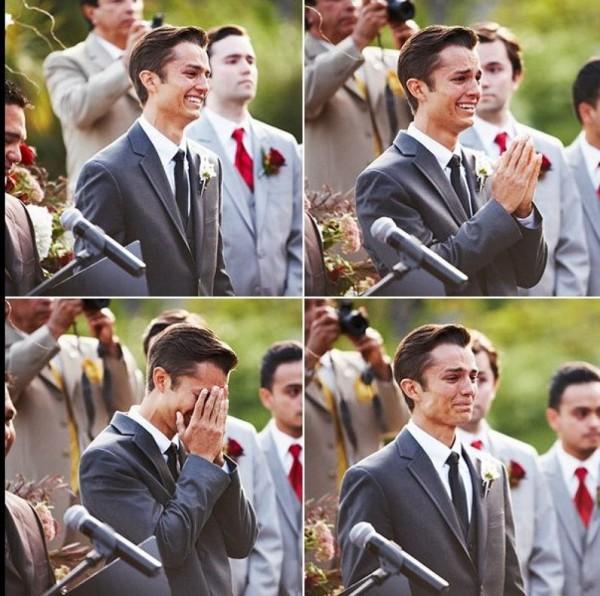 Groom Reaction to Bride Walking Down Aisle