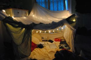 blanket fort as rainy day activity