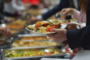 buffet at wedding reception
