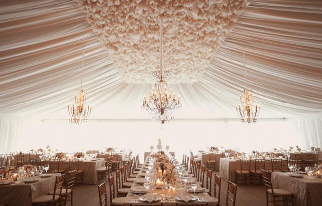 chandelier in wedding tent