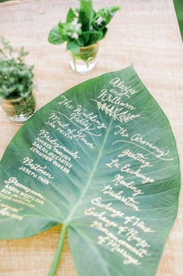 leaf wedding program