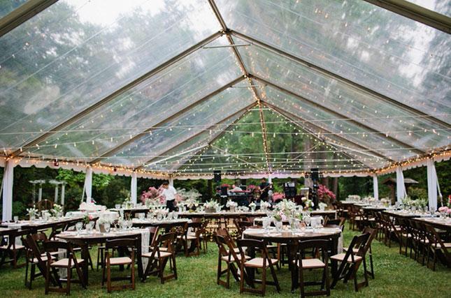 wedding tent on rainy