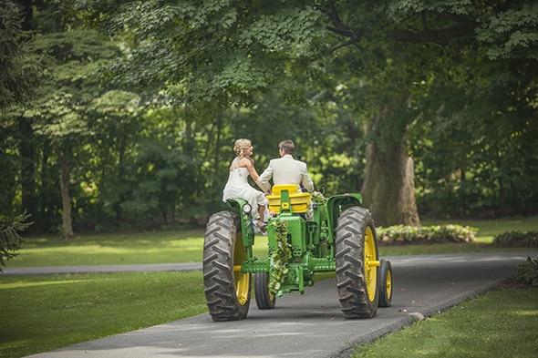 tractor wedding getaway car