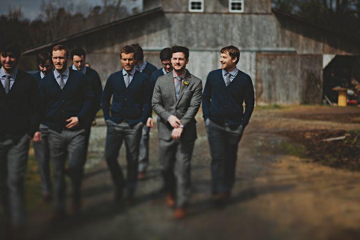 groomsmen in cardigans