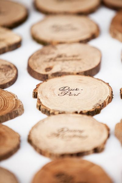 wooden wedding place cards