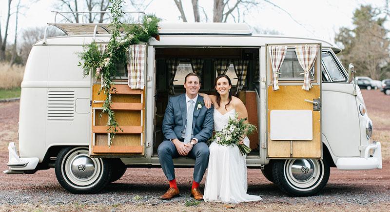 camper van wedding getaway car