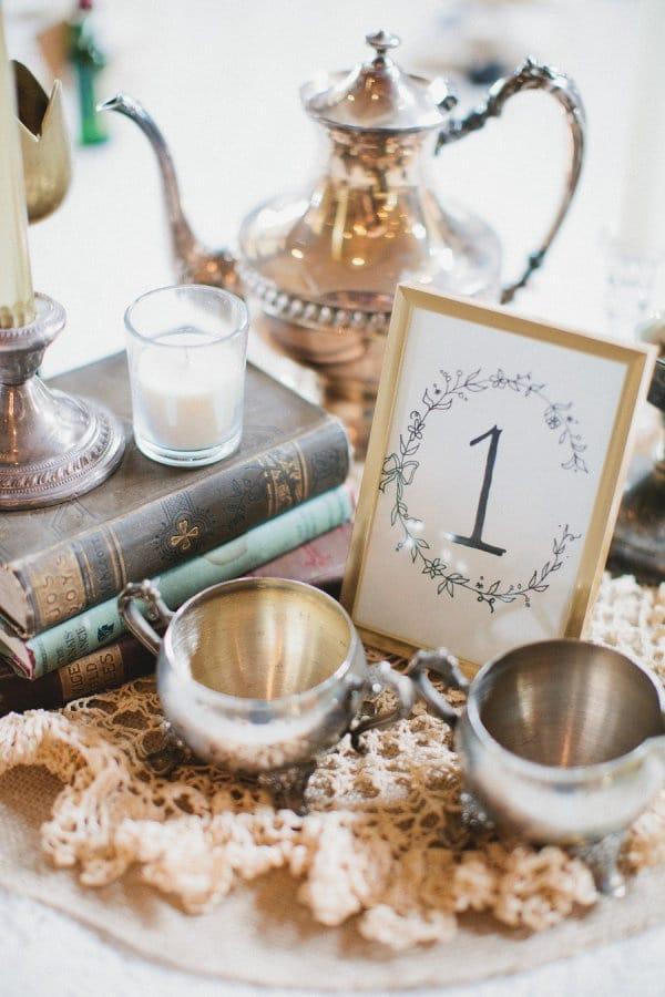 tea set wedding centerpieces