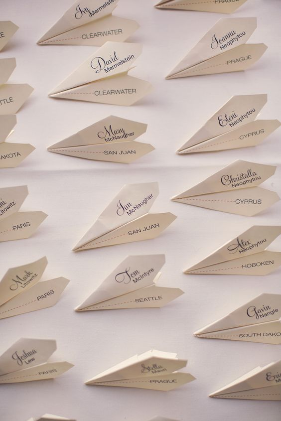 airplane wedding place cards