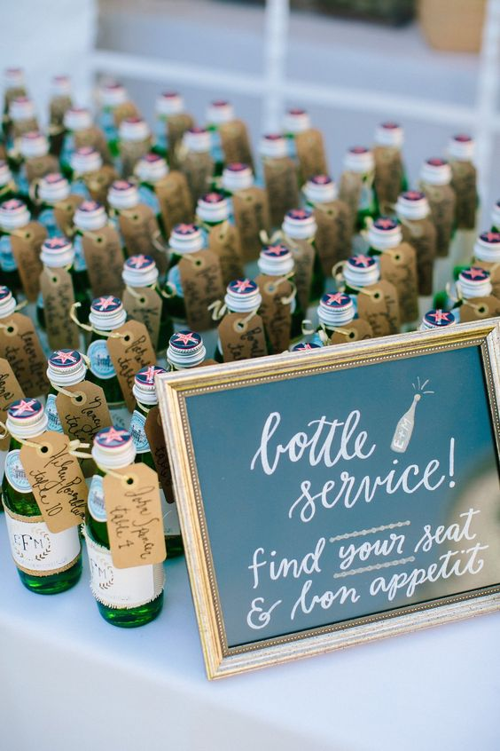 bottle wedding place cards