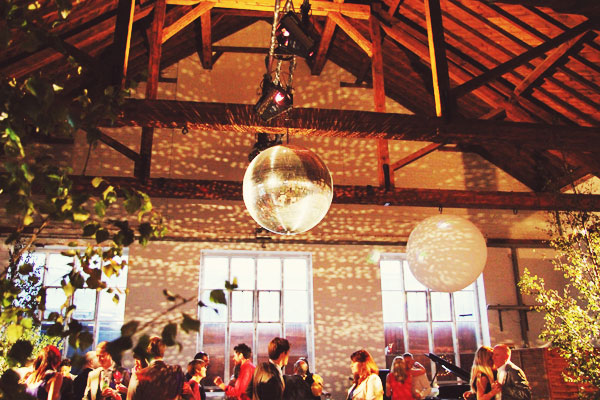 disco ball wedding lighting