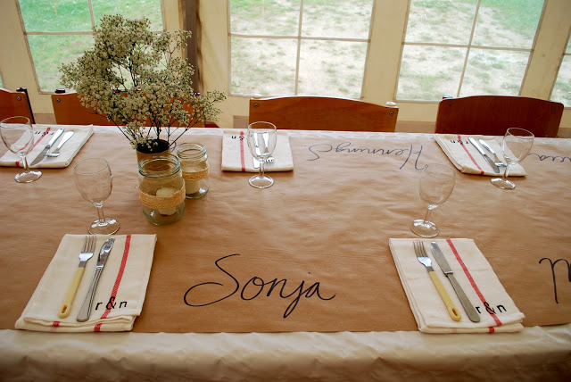 kraft paper tablecloth at wedding for kids