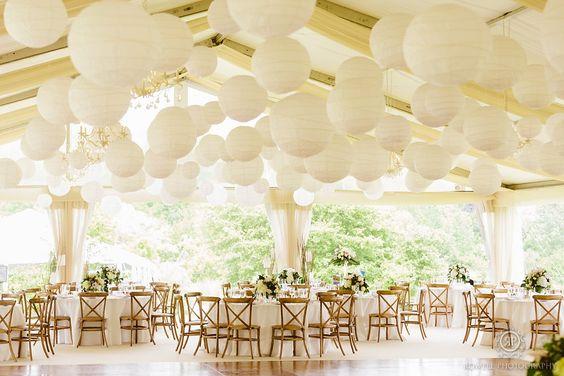 lanterns in wedding tent