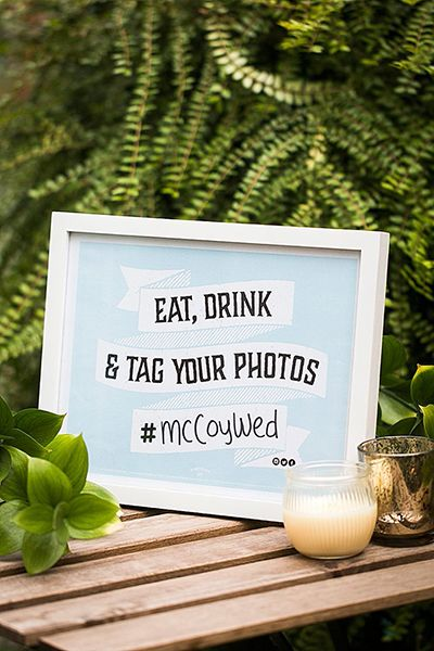 displaying wedding hashtag