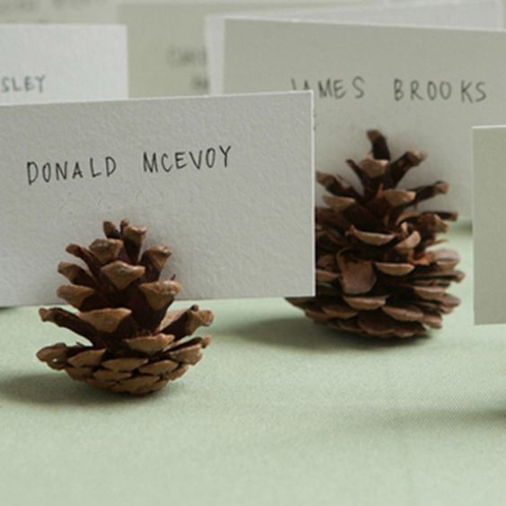 pine cone wedding place cards