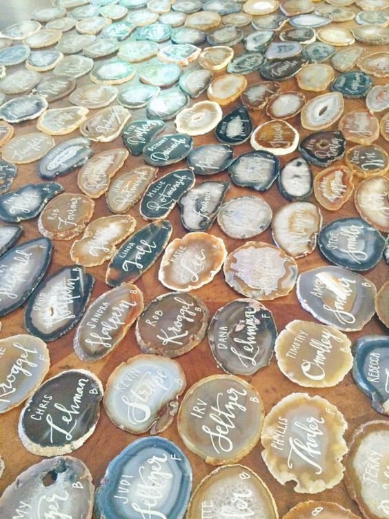 agate slice geode place cards