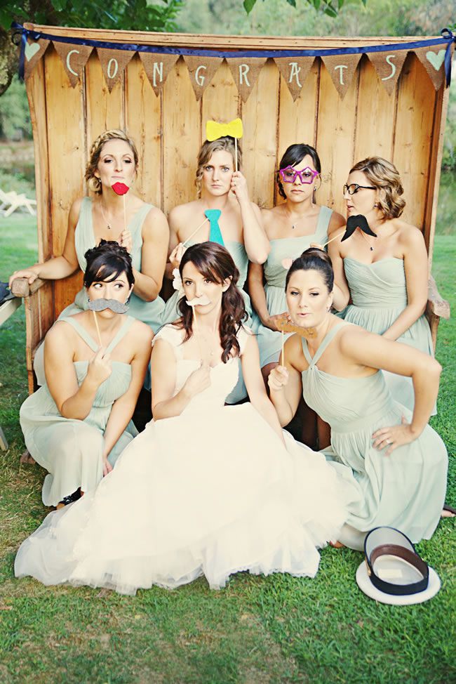 Bridesmaids in Photo Booth Props