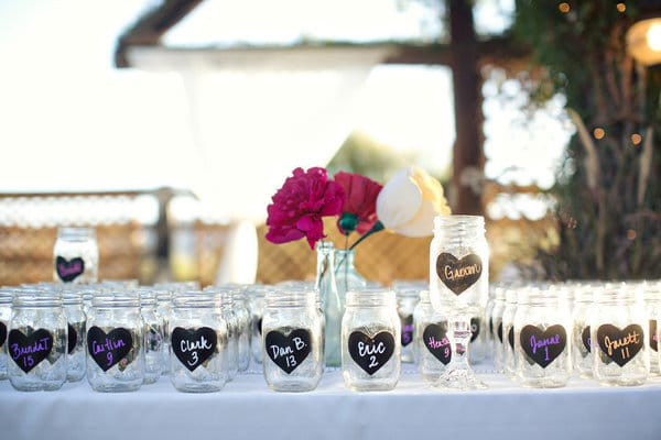 mason jar wedding place cards