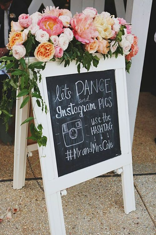 displaying wedding hashtags