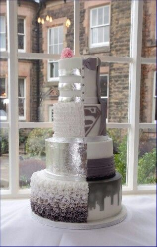 his and her wedding cake