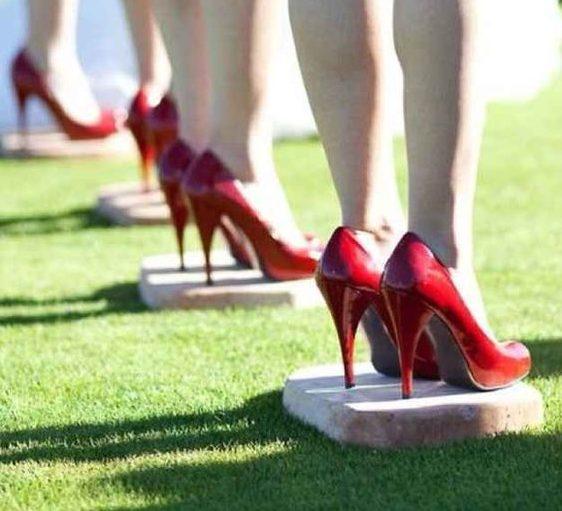heels in grass wedding