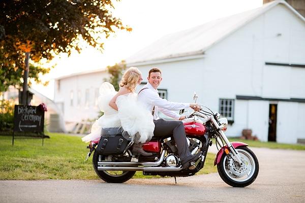motorcycle wedding getaway car