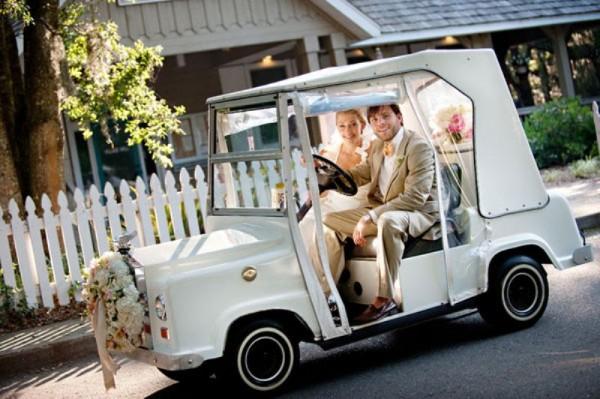golf cart wedding getaway car