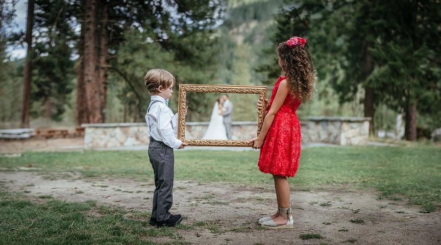 vintage frame wedding photo