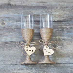 Rustic Champagne glasses