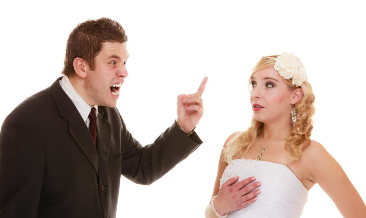 Wedding couple having argument
