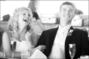 Couple Laughing on Wedidng Day