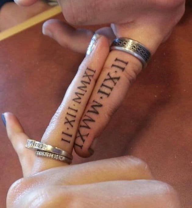 roman numerals ring tattoo
