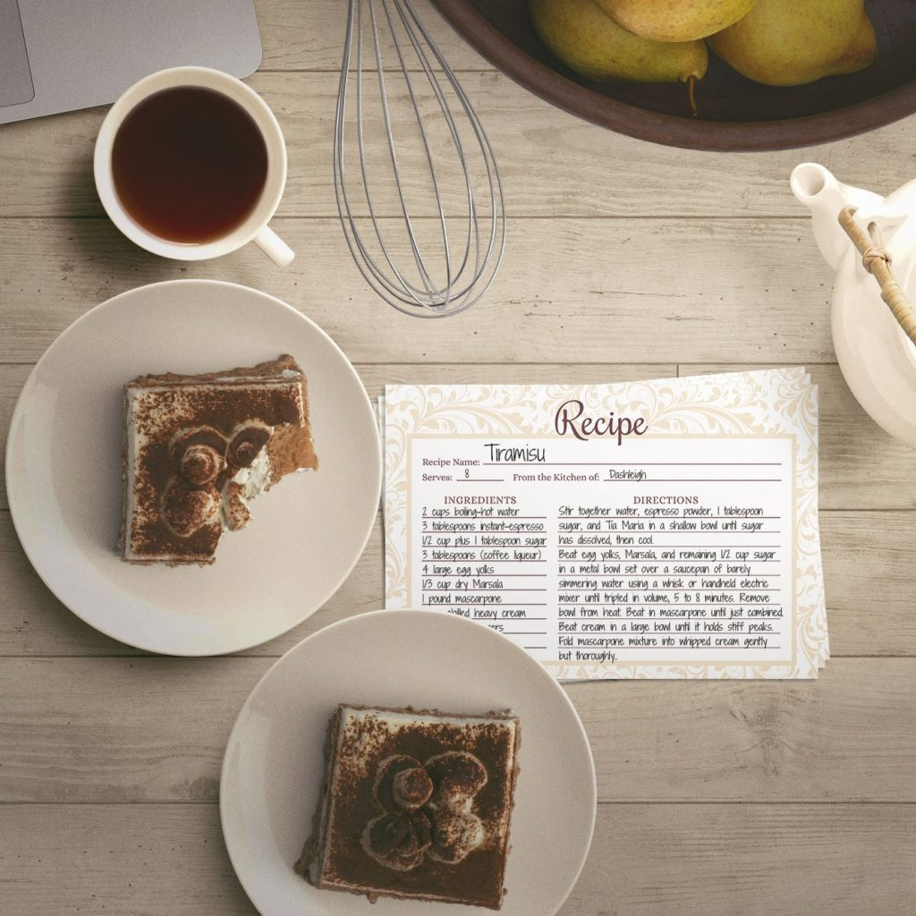 wedding recipe cards