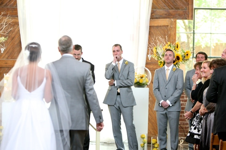 wedding ceremony groom reaction