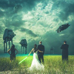 nerdy wedding photo