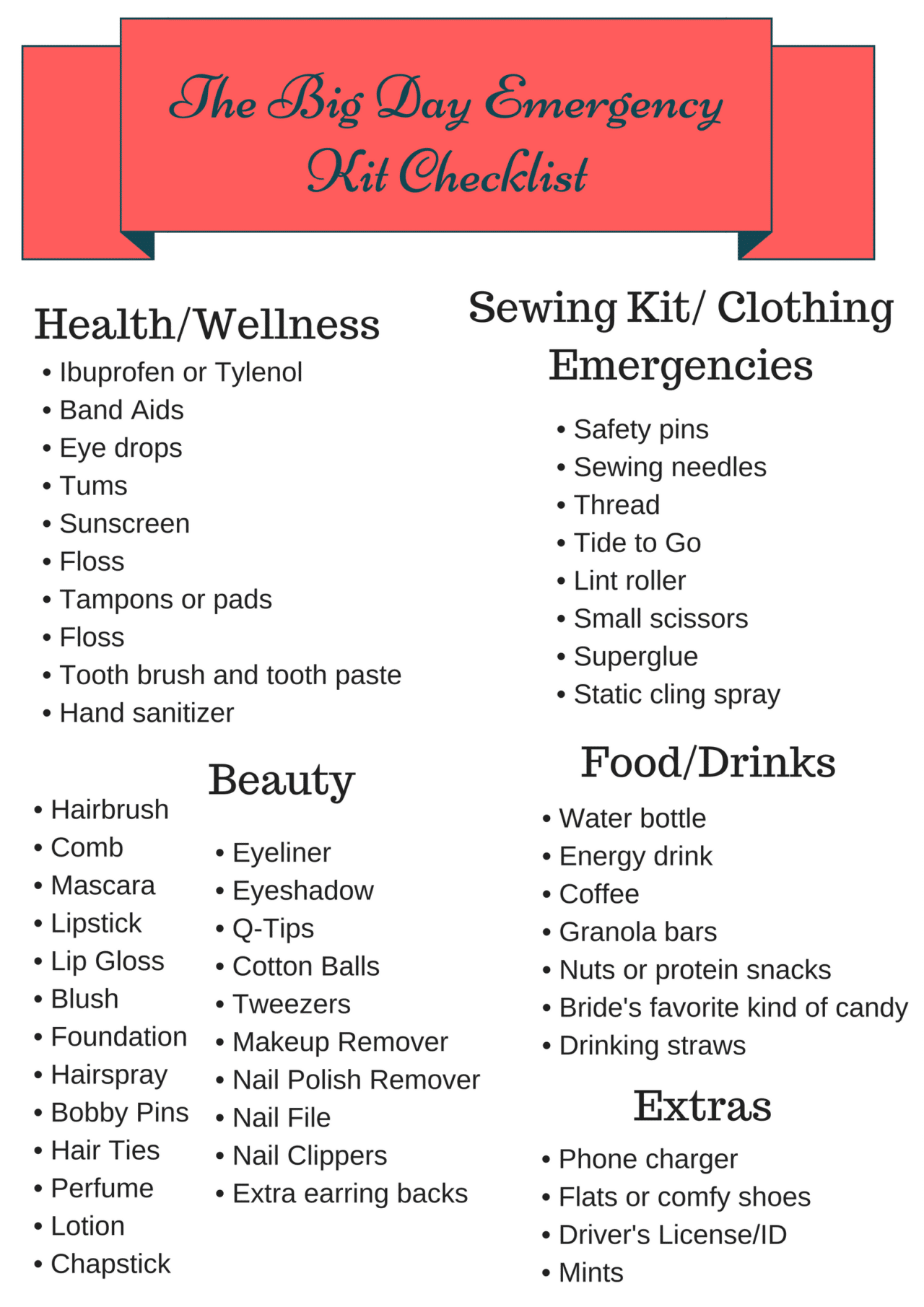 The Big Day Emergency Kit Checklist