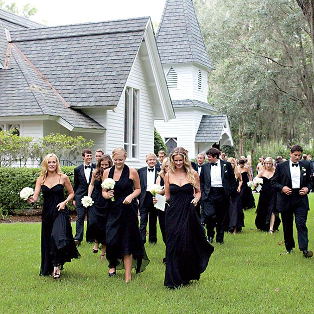 wedding guests in neutrals