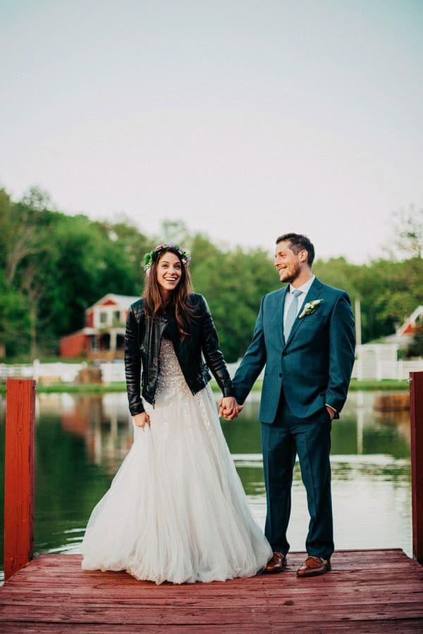 bride in jacket