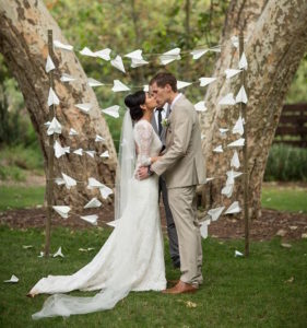travel-themed wedding arch