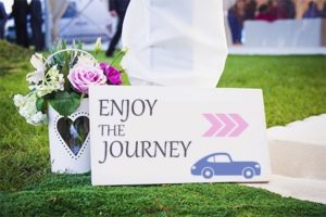 travel-themed wedding sign