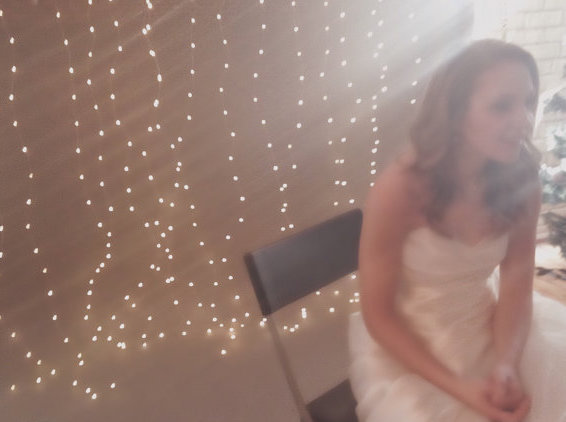 string light wedding backdrop